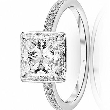 d.1 Carat 14K White Gold Victorian Halo Square GIA Certified Princess Cut Diamond Engagement Ring (0.75 Ct I Color VS1 Clarity Center Stone)