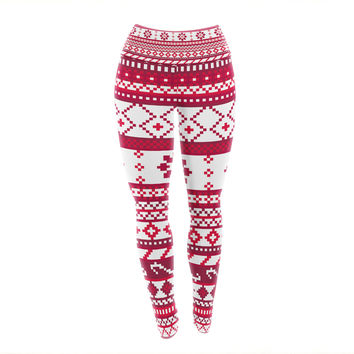 "Noonday Design ""Red Fairisle Christmas Pattern"" Red White Yoga Leggings"