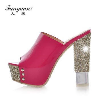 Fanyuan Summer Shoes Women Slingback Slippers Thick High Heels Glitter Shoes 2017 Stylish Lady Open Toe Platform Pumps Big Size