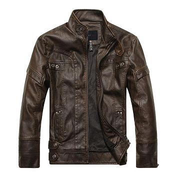 Autumn Winter Brand Leather Jacket Men Slim Brown Stand Collar Jaqueta Couro Bomber Jacket Faux Leather Fur Coat Suede