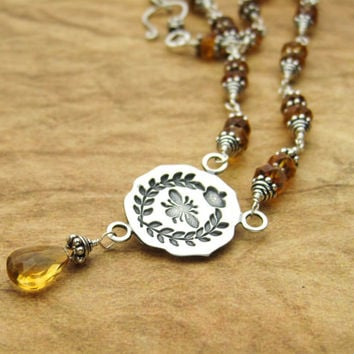 Queen Bee Pendant Necklace Honey Yellow Citrine and Silver Necklace