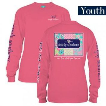"*Closeout* Youth Simply Southern Long Sleeve - ""Patchwork"""