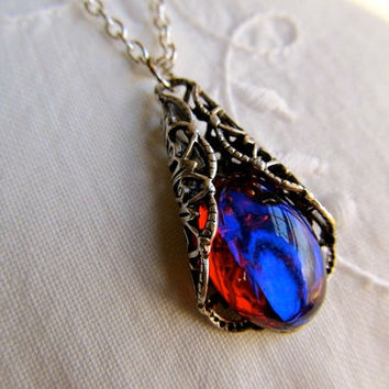Dragons Breath Opal Necklace Mexican Fire Opal Necklace Art Nouveau Necklace Opal Necklace Sterling Necklace Filigree Necklace- My Delight
