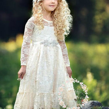 Flower girl dress,Flower girl dresses, flower girl lace dresses, ivory lace dress, Country Rustic flower girl dress,long sleeve lace dress,