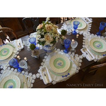 SET of 12 Wedgwood Embossed Queens Ware English China Creamware Hand Painted Castle Plates Circa 1934 Blue & Mint Green