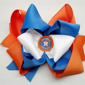 """Astros"" Boutique Stacked Bow"