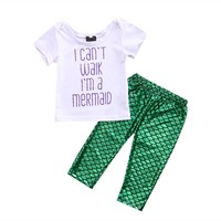 3PCS Set Newborn Baby Girls Mermaid Clothes 2017 Summer Short Sleeve Letter Printed T-shirt+Green Mermaid Pant Legging Outfits