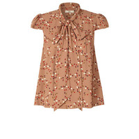 Orla Kiely - Hidden Hedgehog Print Silk Crepe Neck Tie Blouse