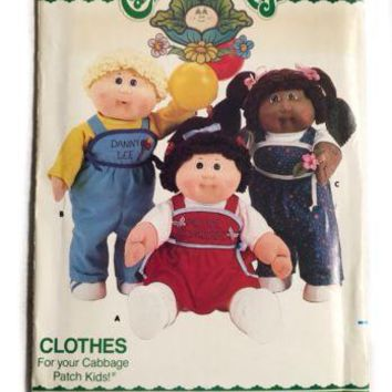 Vintage Butterick 3660 Cabbage Patch Kids Doll Sewing Pattern Costume Clothes