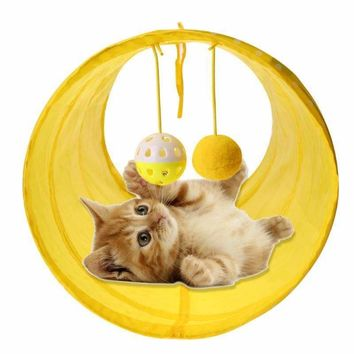 Funny Pet Cat Tunnel Cat Play Tunnel Tubes Collapsible Crinkle Kitten Cat Toys Puppy Ferrets Rabbit Play Tunnel Toy