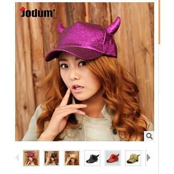 1 piece fashion punk Ox horn hat fashion men women baseball cap Demon cap Paillette adjustable cap 7 Fluorescent colors