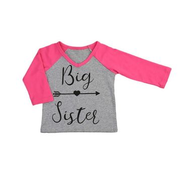 Pudcoco Letter Printed Big and Little Sister T-Shirt Baby gift Shirts Summer O-Neck tees Fashion Tops 1-6Y
