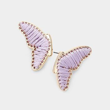 Threaded Butterfly Gold Trim Earrings
