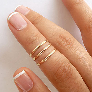 14K Gold Filled Knuckle Rings - Set of 3 - Above Knuckle Rings - Midi Stack Rings - 1.5mm Slim Band Knuckle Rings - First Knuckle