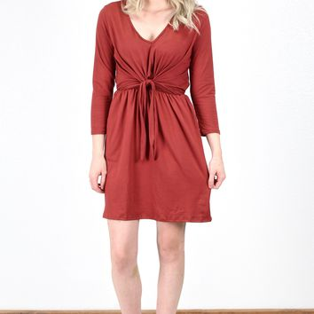 Faux Wrap & Tie Front Suedette Dress {Marsala}