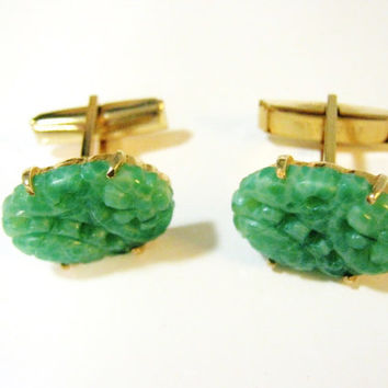 Signed MARVELLA Cufflinks, Designer Signed, Vintage Cufflinks, Peking Green Jade Glass, Men's Accessories, Cuff Links, Gifts for him