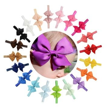 "20pcs/Lot 4"" Grosgrain Headdress Hair Bow Headbands Accessories Hairband Flower Solid Color for Baby Girl Toddlers Kids Children"