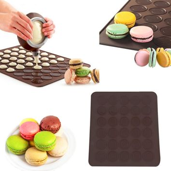 New Silicone 30-Cavity DIY Muffins/Almond Round Cakes Tools Pastry Macaron Baking Sheet Mat Large Cookie Decorating Baking Mold