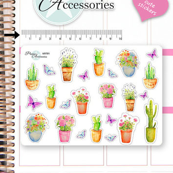 Cactus Stickers Succulent Stickers Plants Stickers Flower Stickers Planner Stickers Erin Condren Decorative Stickers Live Planner NR751