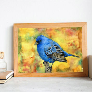 Realistic  Original Watercolor painting, Blue Bird Painting, Christmas gift idea, Colorful painting, Fine Art,  Kitchen Art decor