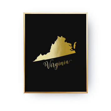 USA State Poster, Virginia State Map, Real Gold Foil Print, Virginia Print, Virginia State Print, Gold USA State, Virginia Silhouette, 5x7