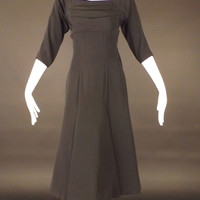 NATHAN STRONG-1950s Black Crepe Dress, Bust-36