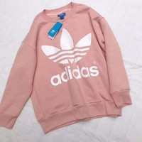 ADIDAS Women Fashion Casual Round Neck Top Sweater Pullover G