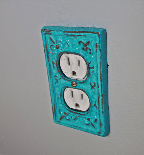 turquoise decorative electrical outlet from aquaxpressions on. Black Bedroom Furniture Sets. Home Design Ideas