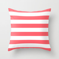 Stripe Coral Bold Throw Pillow by Beautiful Homes