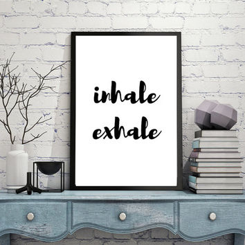Inhale Exhale Zen Printable, Breathe Wall Art Digital Quote Print, Nordic Poster Scandinavian Style, Minimal Print INSTANT DOWNLOAD