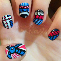 Nail polish strips. TWO SETS of Nail decal wraps. Blue aztec tribal eyes nail art.