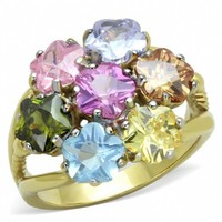 Karen's Gold Stainless Steel Multi Color Bouquet Inspired Crystal Cocktail Ring