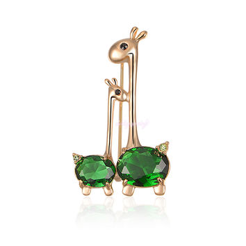18K Gold Plated GP Brooch Green Cubic Zirconia Animal Giraffe Sweet Mother-baby Brooch Pin New GIFT Hot Sale X217