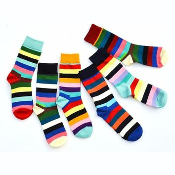 PEONFLY 2017 Happy funny Socks men With Stripe Ancient Ways Man Pure Full Cotton 6 pairs/lot popsocket meia calcetines dress