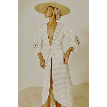 Embroidery Long Robe - Off White