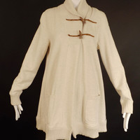 RALPH LAUREN-Ivory Cotton Knit Swing Jacket, Size-Large