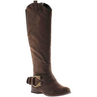Bridie Rich Brown Riding Boot with Gold Buckle