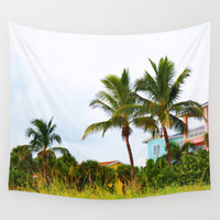 Two Casitas - Wall Tapestry, Coral Pink & Green Palm Trees Accent, Florida Style Beach Houses Backdrop Wall Hanging. In Small Medium Large