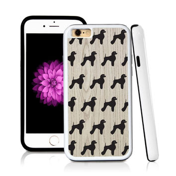 iPhone 6 case Poodle standing in Light Wood Texture with hard plastic & rubber protective cover