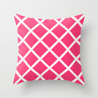 White Cotton Fence with Pink Throw Pillow by House of Jennifer | Society6