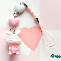 Kawaii white Bunny holding heart pink phone charm - cute anime keychain - Fairy Kei - sweet lolita - pvc rabbit - pastel acrylic heart beads