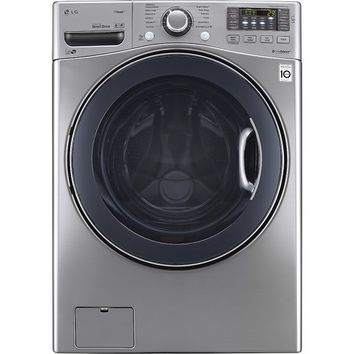 LG - TurboWash 4.3 Cu. Ft. 12-Cycle High-Efficiency Steam Front-Loading Washer - Graphite Steel