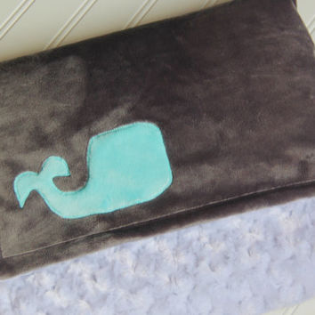 Grey Minky Whale Blanket, Ready to Ship, Grey and White Double Sided Minky Whale Blanket, Grey and Aqua Baby Blanket