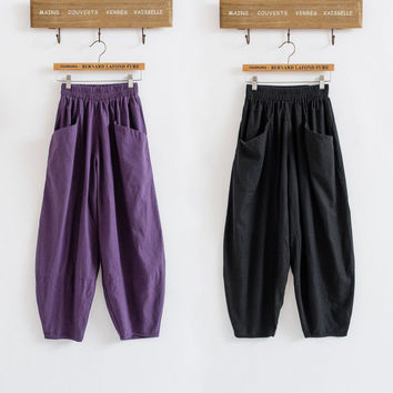 2016 Summer Cotton Linen Ankle-Length Pants Women Casual Bloomers Harem Pants Trousers 3Color