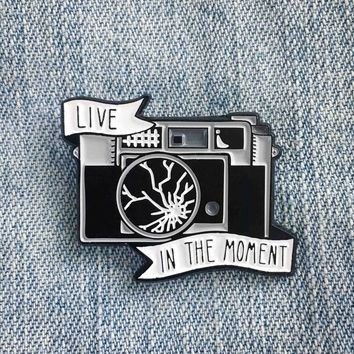 """Live In The Moment"" Broken Camera Enamel Pin"