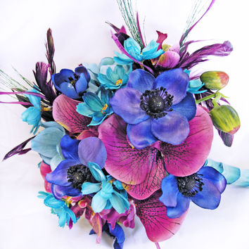 Blue Turquoise Purple Wedding Flowers Bridal Bouquet - $98.35 - Handmade Crafts by Expressions Floral
