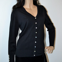 Cielo V Neck Silk Blend Preppy Cardigan Sweater-Black
