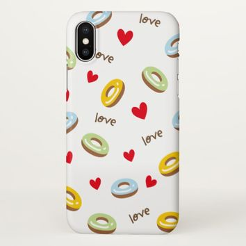 Claire Blossom Love Donut colorful&white iPhone X Case