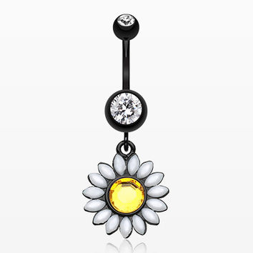 Blackline Daisy Marquise Flower Belly Button Ring