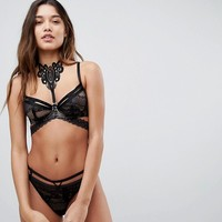 ASOS Camillia Lace & Crochet Underwire Bra With Detachable Choker at asos.com